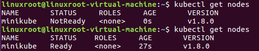kubectl get nodes in ubuntu with minikube, kubernetes