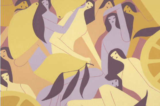 An illustration of yellow and light purple women arranged around each other and giant lemons and lemon slices