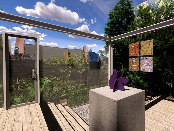 A digital rendering of a rooftop patio with art hanging on glass walls, and a purple abstract sculpture on a plinth
