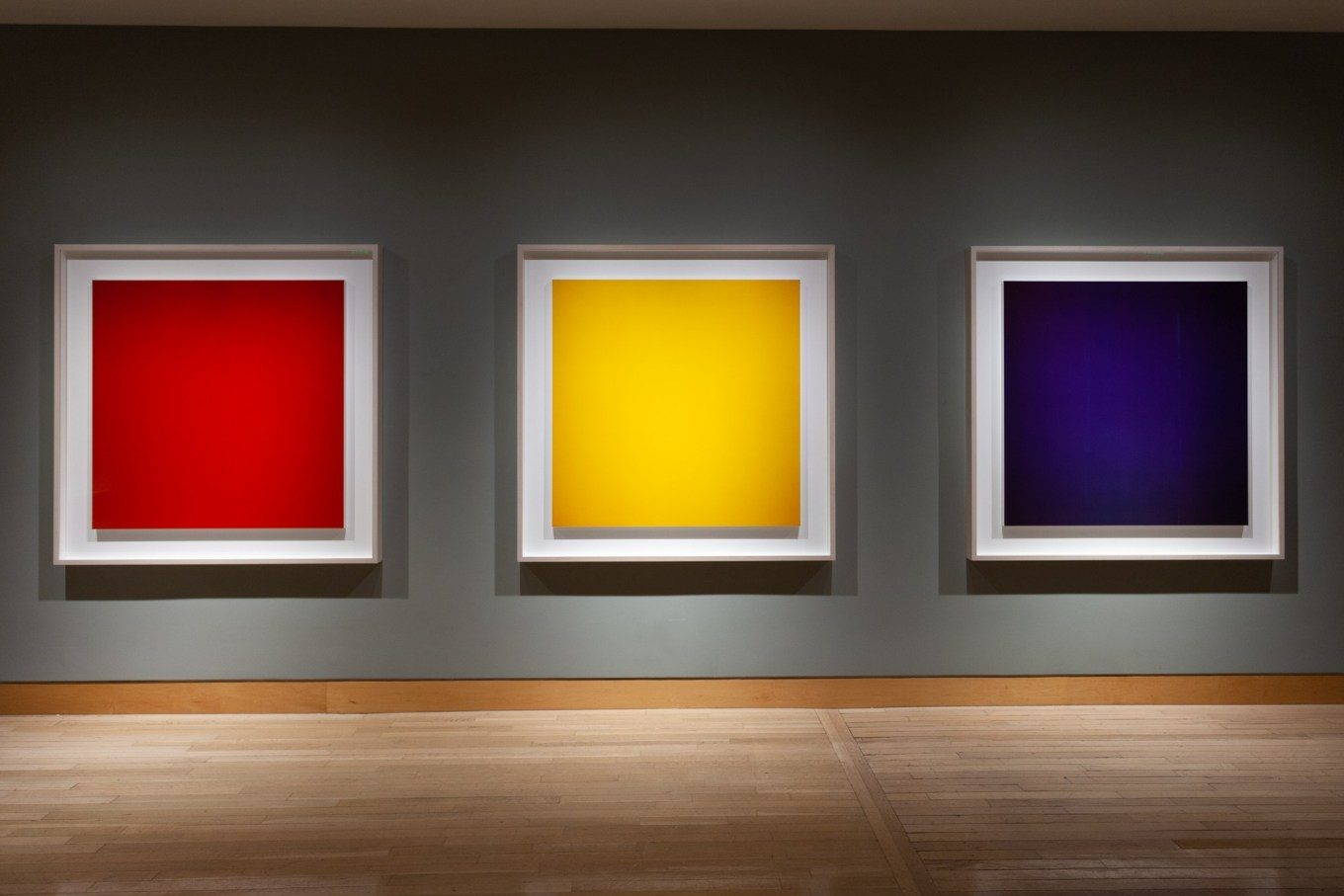 Three large square photographs hanging on a dark gray wall, each photograph is a single solid color: red, yellow, and blue, respectively