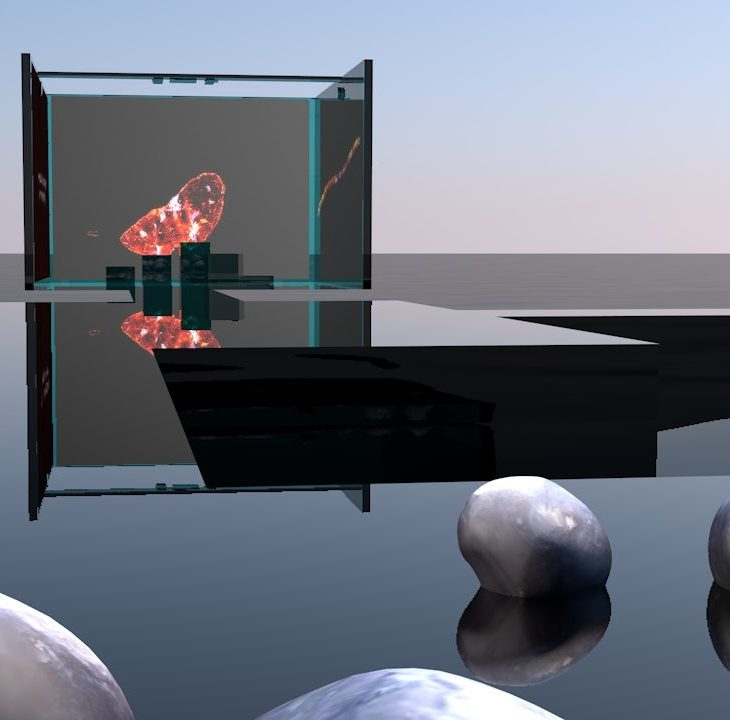 A digital image of a surreal landscape. There is a perfectly still pool of water reflecting a dark sky, with smooth silver rocks studded throughout. In the background, a platform holds screen showing a glowing orange blob.