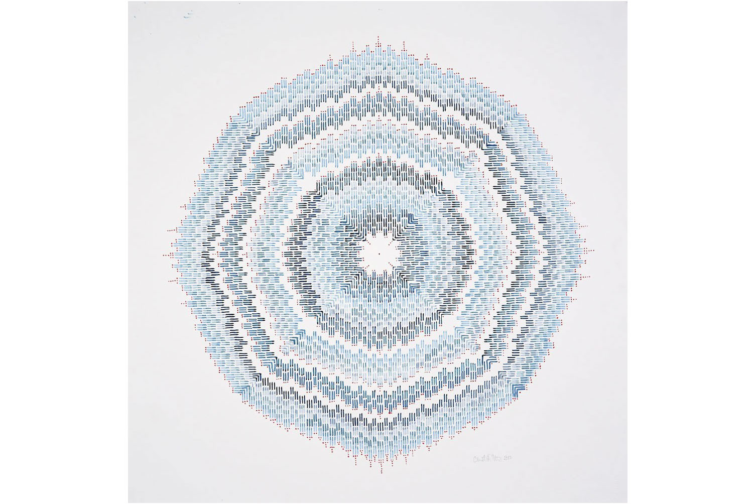 A roughly circular shape made up of thousands of tiny lines, vertical, horizontal, and diagonal, in varying shades of blue, making up a pattern of concentric circles with red dots at the edges of some of the circles. The colors and line work make the shape look like it's vibrating.