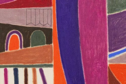 A detail of an abstract painting by Muzae Sesay. Large shapes in purple, pink, orange, green, brown, and white create an energetic composition that hints at references to dense architecture.