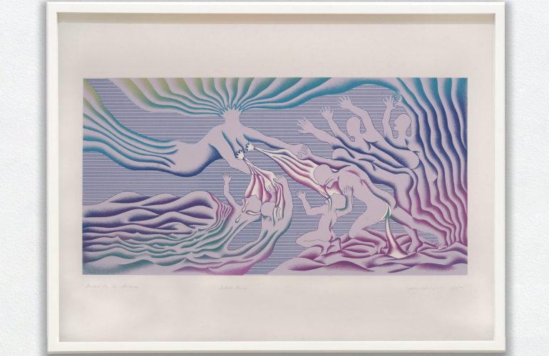 An abstract figurative silkscreened work depicting eight, lilac-bodied figures. One figure floats down from the upper left corner with blue and green rays emanating from its head and hips. The figure's arms reach toward the other seven figures, and white stars cover their breasts. White streams flow toward the other seven figures, who have their arms raised toward the floating figure.