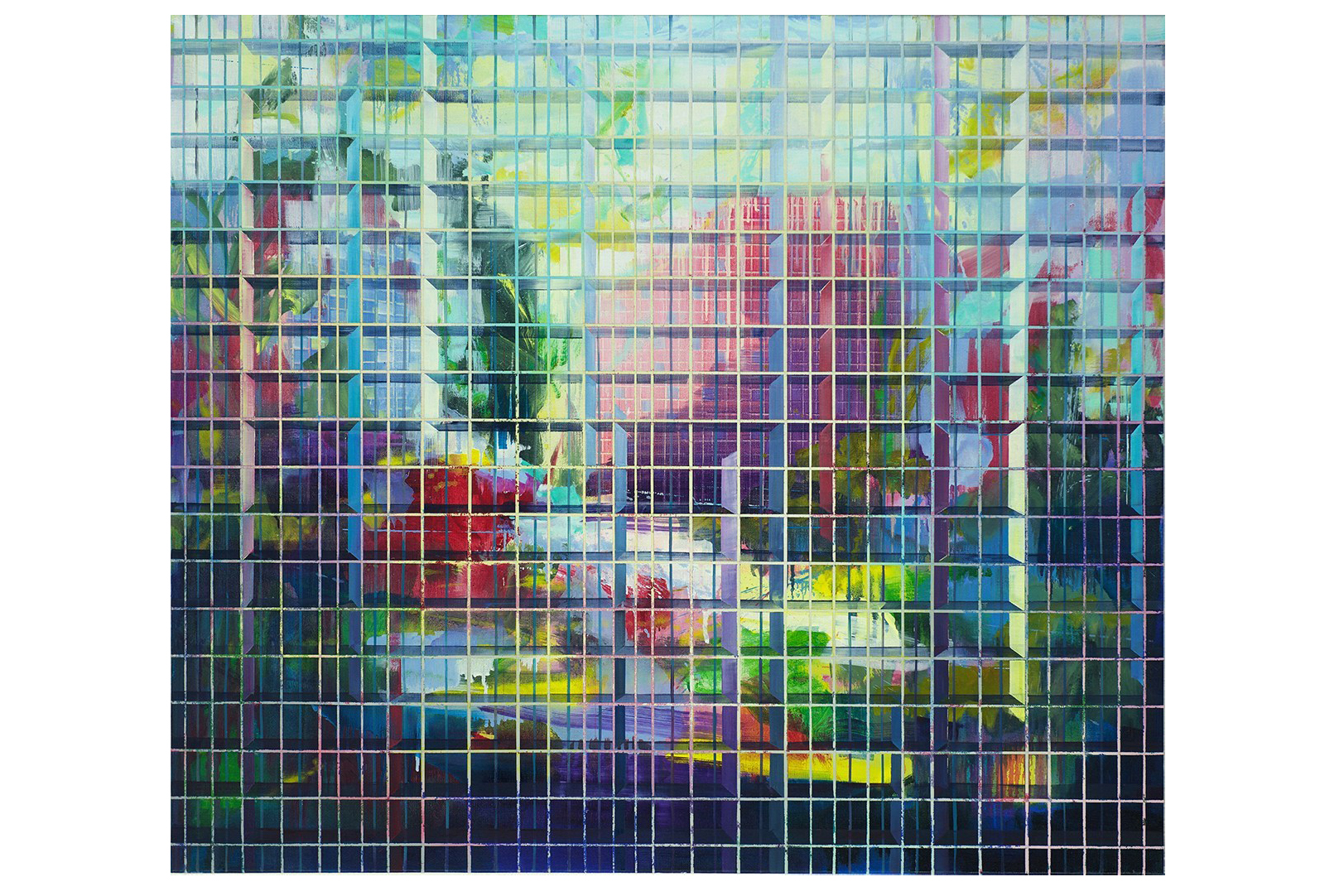 An intricate, colorful oil painting with a background that gives the impression of looking at a reflection in water. In the foreground, a three-dimensional grid overlays the blurry background.