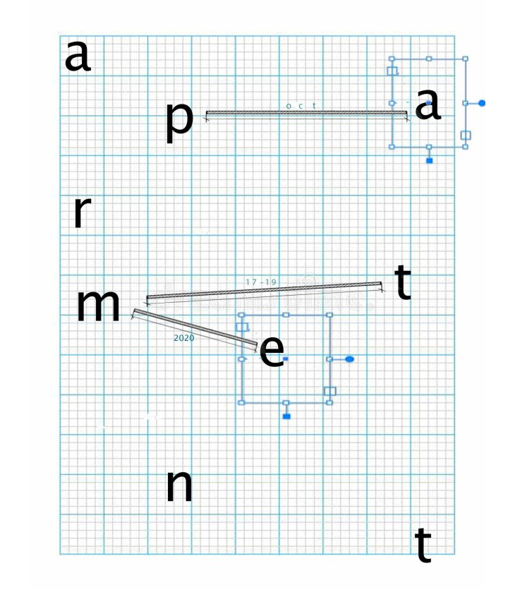 """Exhibition flyer for """"Apartment"""" at Congress Yard Projects. The flyer background is blue grid paper with the letters in the word apartment scattered around the grid. There are two blue squares deliniating sections around an A and E, and three black lines connecting the P to an A, the M to a T, and the M to the E."""