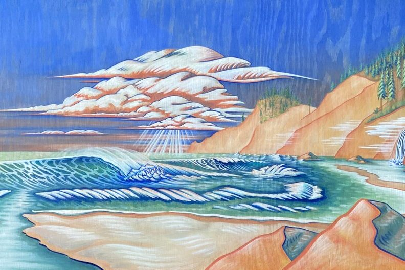 A landscape painting of the Oregon cost in acrylic on wood. The woodgrain shows through the paint, which depicts a lively coastal scene. Turquoise and cobalt waves crash on a golden sand shore, evergreens speckle mountains in the distance, and a large gathering of cumulonimbus clouds float above the horizon, with rays of light shining down.