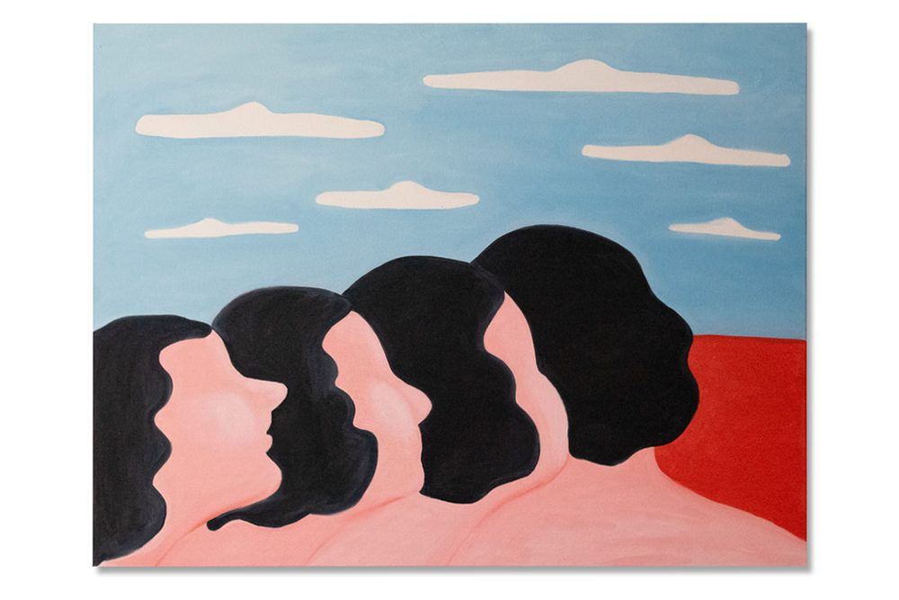 A painting of four pink-skinned people with shoulder length wavy black hair. Their bodies are staggered. Starting with the person in the left corner, shown in profile, each person turns progressively more to their left until the person on the right faces away from the viewer. Scattered clouds in a light blue sky over a red sea fills the horizon in the background.