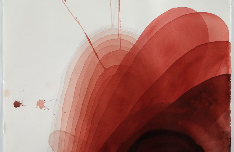 A watercolor painting featuring translucent, blood red shapes radiating out from the bottom left edge of the frame. the shapes are variously sized oblong ovals. The background is light grey. There are two red dots of paint on the left side of the painting, and two thin lines of splattered paint extend from the red composition.