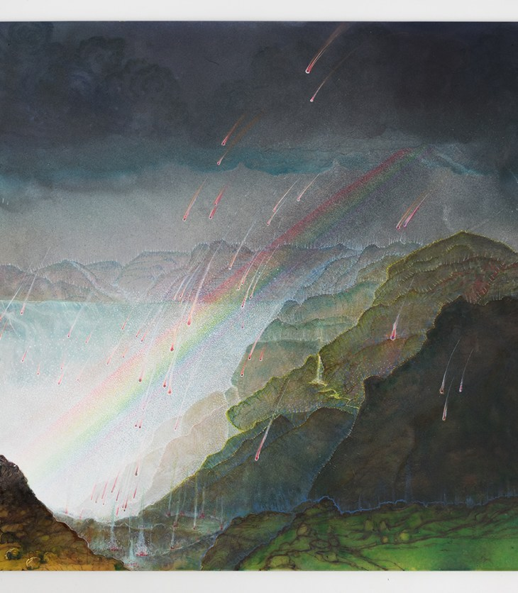 A glorious, contrasty landscape painting with red stars falling to the earth near a large lake surrounded by dark green hills. Dark clouds loom overhead, and a rainbow juts diagonally across the square frame.