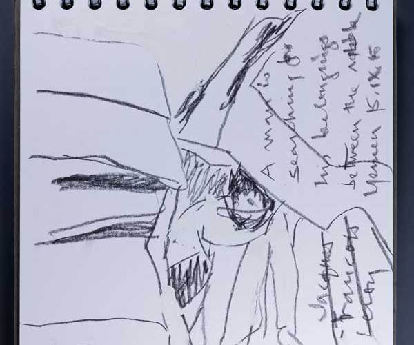 "A photograph of a square format spiral bound sketchbook with a sketchy drawing in black graphite. The drawing depicts a person bent over and walking through a crowded space. Perpendicular to the drawing horizon, cursive handwritten text reads: ""A man in searching for his belongings between the..."" followed by two illegible words. In the bottom right corner, the artist wrote ""Jacques Francois Leroy"" and crossed the words out."