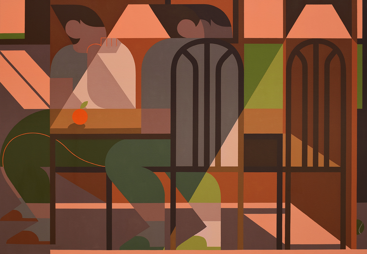An painting of two people sitting at a table rendered in geometric abstraction: the figures, objects, and lighting are all flat shapes. The painting has tones of creme, beige, green, and various brown hues.