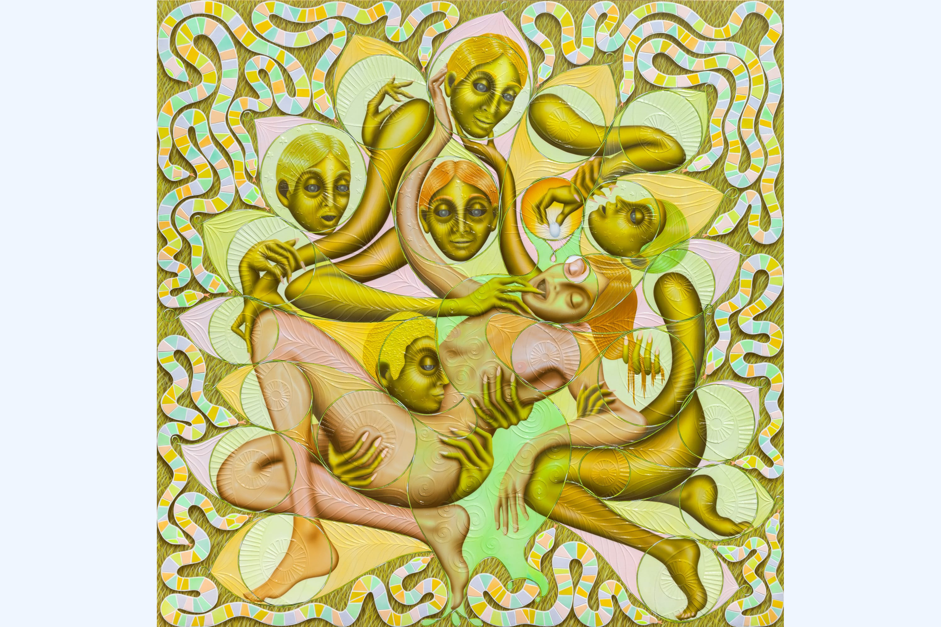 A psychedelic painting depicting a tangle of female-looking figures. The central figure has pink skin, and is being carried by the others in a position referencing Michaelangelo's Pietà. The other figures have mossy green skin, and one is putting a finger in the pink figure's mouth. ​Feather-shaped embellishments mimicking the wings of a peacock are layered over the figures. They're surrounded by brightly-colored, striped snakes.