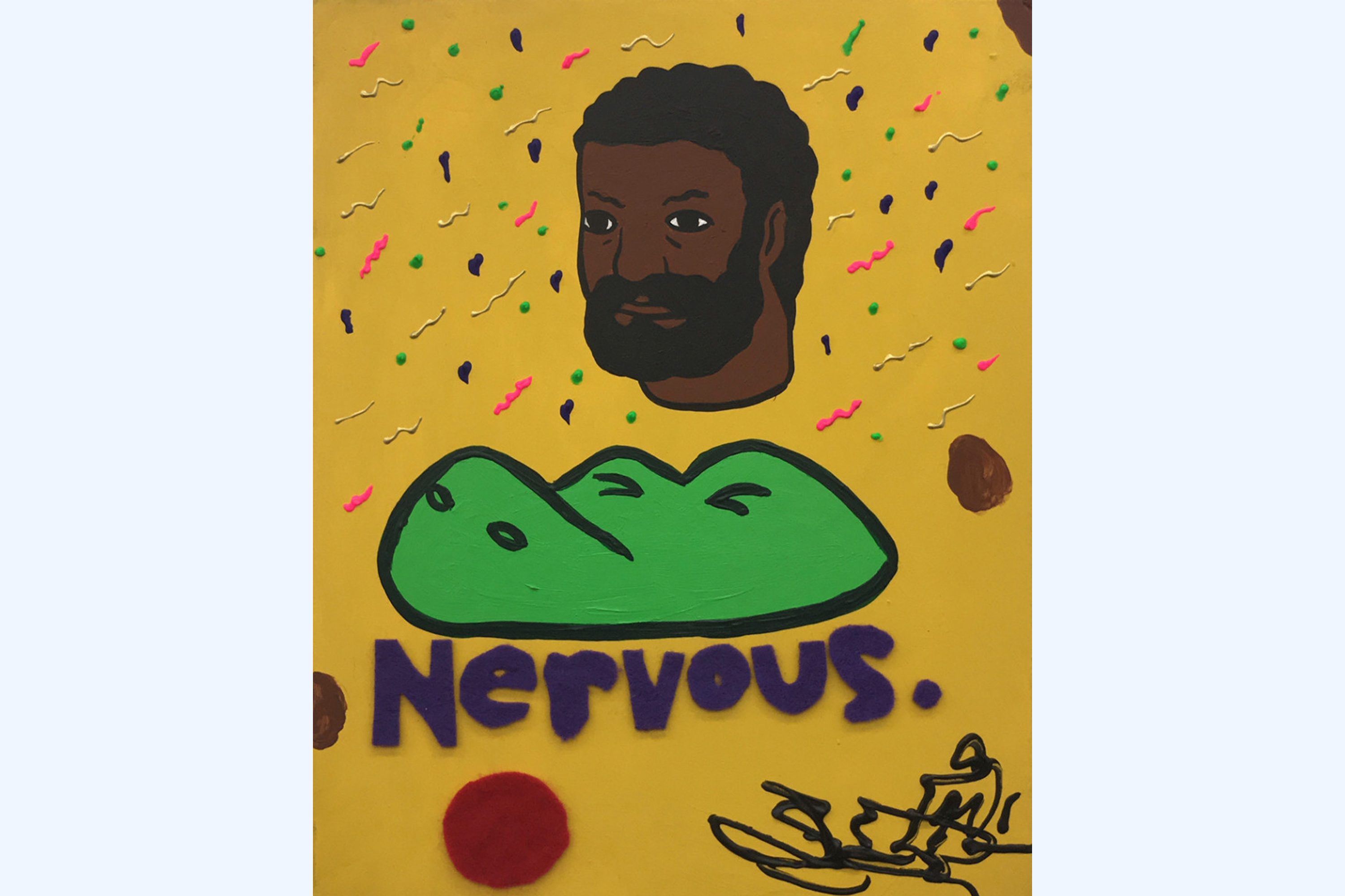 "A painting of a dark brown skinned man with short curly hair with a beard and mustache. The man's head is floating on a yellow background, which has thick squiggles and splatters of paint in yellow, navy, neon pink, and neon green. Below the man's head is a cartoon-style crocodile head with its eyes tightly closed. Below the crocodile is the word ""Nervous."" in purple felt."