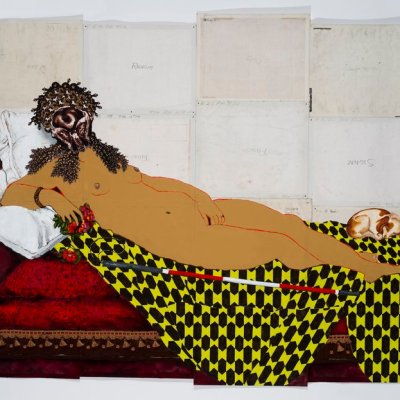 A painting of a lounging nude woman on the backs of other canvas paintings aligned into a grid. The woman is depicted reclined on a chaise longe, propped up on pillows, with a small dog at her feet. The woman wears a mask made of collaged brain scans, and has the white and red cane often used by blind or visually impaired people at her side.