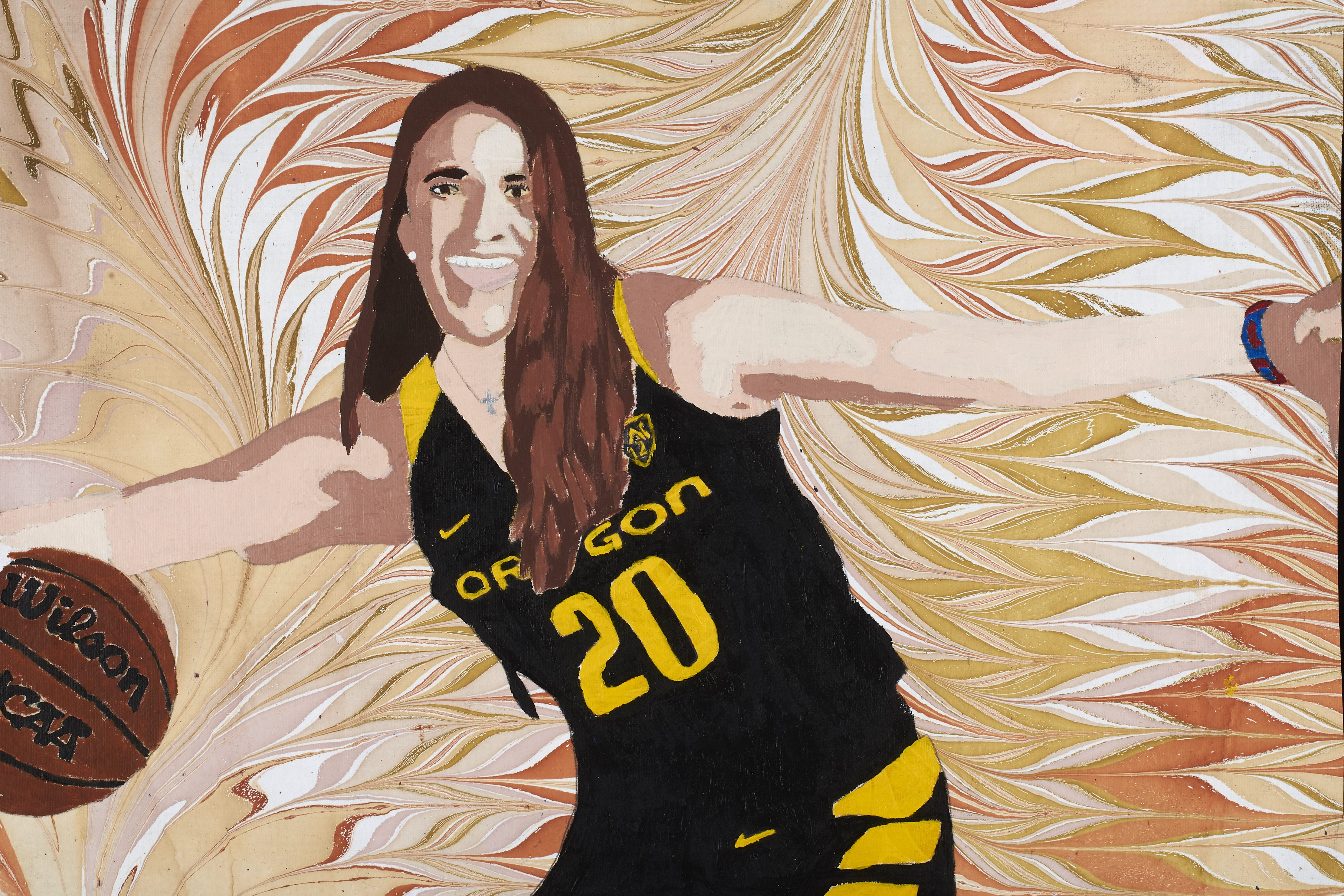 "self-portrait of a University of Oregon basketball player set against a dynamic, pastel background, wearing a black, short-sleeved jersey with a yellow ""20"" across the front and the text ""Oregon"" above the number, black shorts, as well as earrings and a necklace. Her arms are extended, and she smiles at the viewer with a basketball in her right hand. Her hair is brown and long."