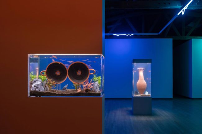 An installation view of a darkly lit gallery. The image is bisected by a wall on the left painted brick red with a glass aquarium inlayed half way up from the floor. The aquarium has sand, rocks, aquarium plants, and two clay vessels suspended in the center like giant round eyes. In the background, another water tank stands on a plinth in a room lit with blue and green lights. This water tank holds a tall, red clay amphora.