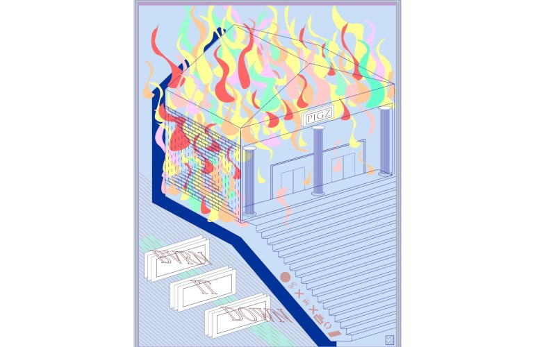 "Light blue background with graphic, light lined stylized building with red, yellow, orange, green, and pink flames on rooftop and side left. Text on building placard says ""PIGZ"". Italic outline text on left of image says ""Burn It Down."""