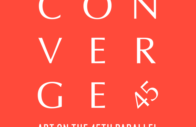 White text on a tomato orange background. The letters in the word CONVERGE are arranged in a square grid, with the lower right corner occupied by the number 45. Below the square, text reads ART ON THE 45TH PARALLEL.