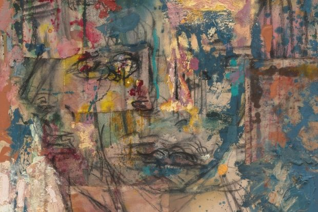 Two faces, crudely sketched and superimposed over each other, stare blankly. Splashes of color, ink, charcoal, sprayed paint all converge to create a chaotic backdrop, which is also seems to swallow the faces.