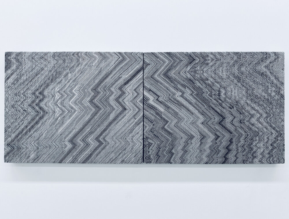 Black, white, and grey abstract weavings made using a computer algorithm. The piece is made up of two woven rectangles hung next to each other, and each has zig zagging lines of various tones creating a glitchy stripe pattern.
