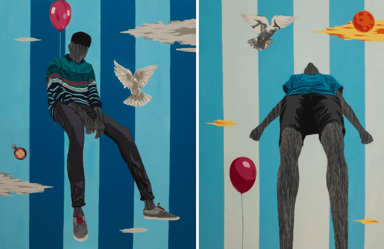 Two, side-by-side paintings, featuring multiple objects hovering mid-air, including doves, a pocket watch, a raven holding a rose, multi-colored clouds — on the left, a boy suspended by a balloon, his arms resting in his lap; on the right, a boy rising in the air alongside a balloon.