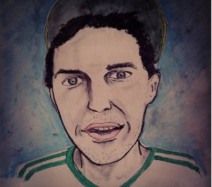 Drawn portrait of Jeff Alessandrelli, a light skinned male with short brown hair and patches of scruff. He wears a hat tilted to the rear of his head and a shirt with green stripes on the shoulder.