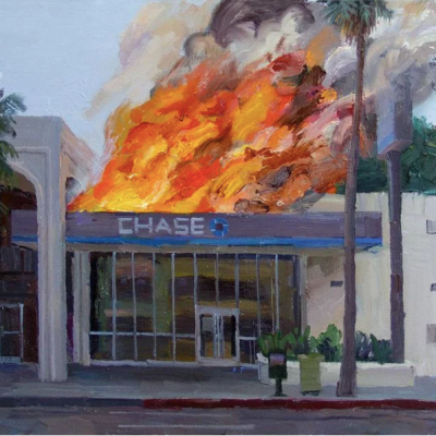 """A painting of a """"Chase"""" bank on fire, the storefront pristine and seemingly untouched with flames roaring out from the roof with gushes smoke just behind it."""