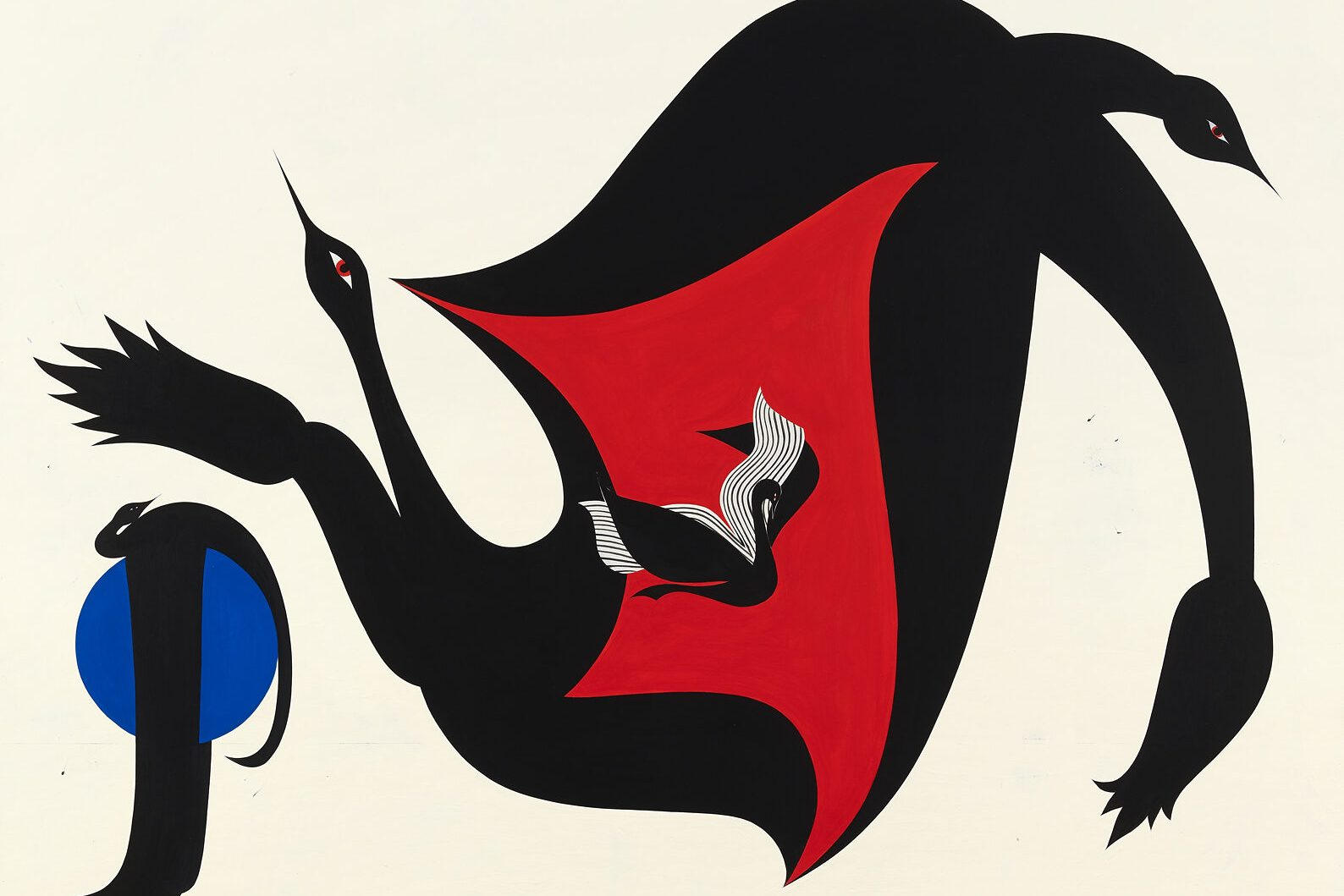 In a dazzling dance of wings, beak, body, and color, four corvids are stretched across a neutral cream sky, around a deep blue moon and encircling a yawning red void—the stripped and mythological depiction recalls superstitious themes of spirit, power, and story.