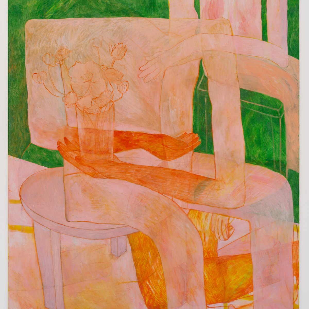 A figure is seated on a chair holding a vase, their limbs drawn using simple lines and shaded in such a way that confuses both dimension and permanence. What seems to be another figure behind them reaches either to or through them.