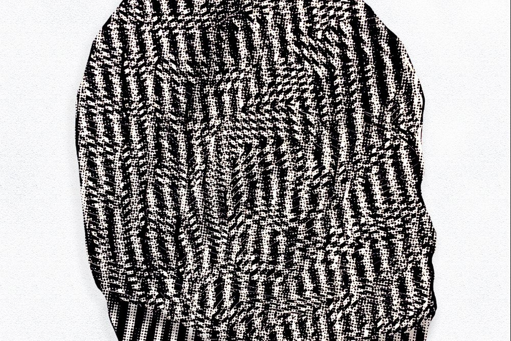 In a haze of black and and white stripes, the shape of a hat or a head or a cloud floats lazily to the surface—meanwhile, a hallucinogenic effect takes over the gaze.