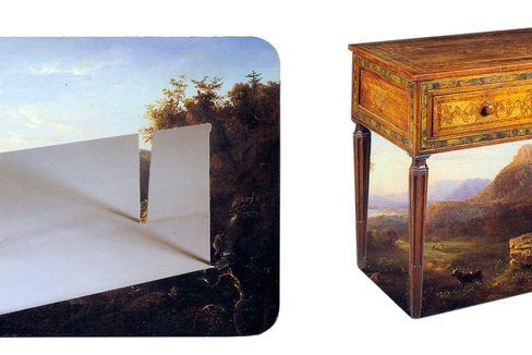 """Two side-by-side images, one of a painting with the outline of a desk removed from it, another of a desk, with the background of the painting removed from it. Paired together, these two images would be one """"complete"""" piece."""