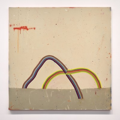 Two wobbly rainbow-arc objects totter imperfectly and intersect, hold each other up. One is colored with darker shades and the other lighter. All against a soft beige canvas, littered with scratches and splatters and marks.