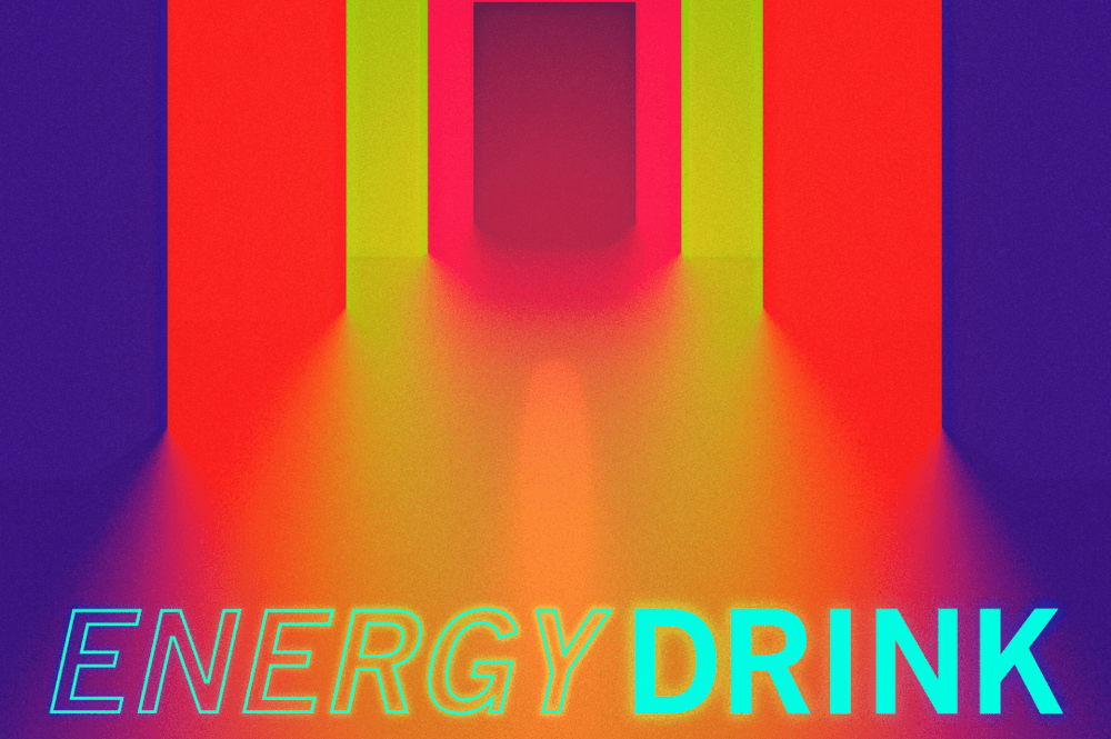 """The words """"Energy Drink"""" shimmer in neon, just below receding layers of doorways, the closes a deep blue, then a hazy red, a fire lime, pink, and then the shadowed doorway itself."""