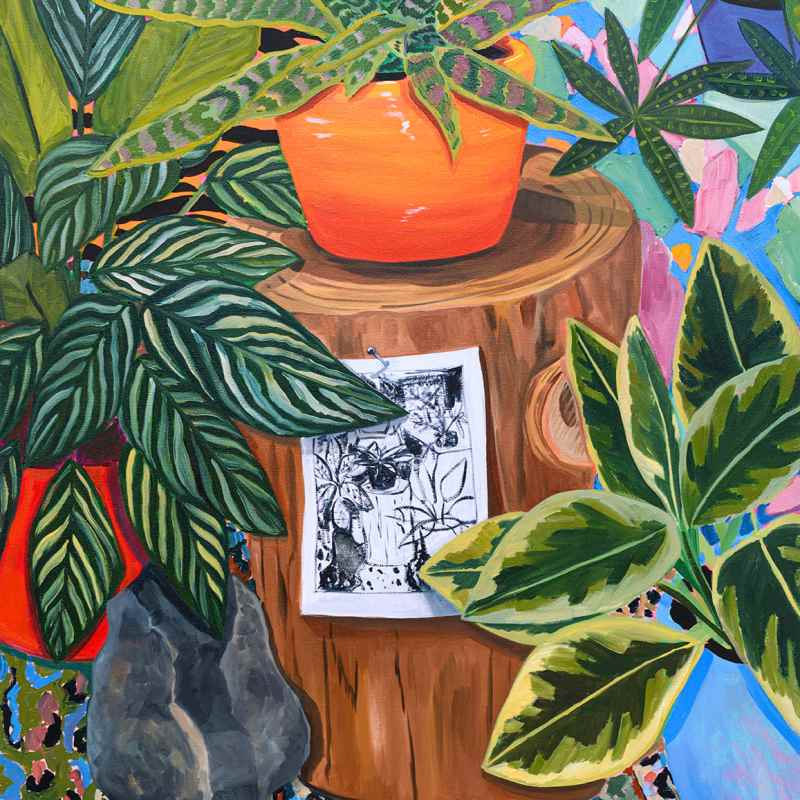 In the center, a sketch is pinned to a tree stump. Atop it, a plant potted in a squatty orange vase. The rest of the scene is swallowed up by leaves of varying, brilliant patterns and colors.