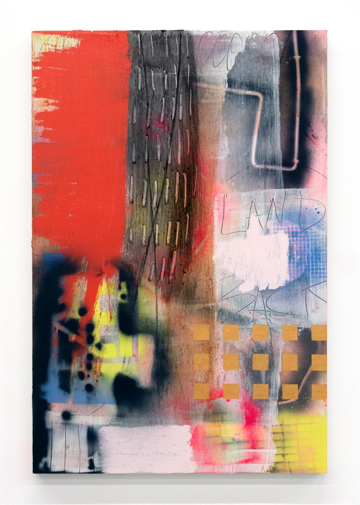 """An abstract paintings colors range from deep red and white to pink to black. The text """"Land Back"""" is scratched into the surface."""