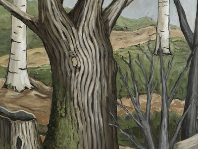 Under a grey sky, two trees—one a stump, another's branches reaching out of frame—dominate the foreground, while others linger behind and crowd just before. Painted in veins like fingers, these muted colors seem to undulate.
