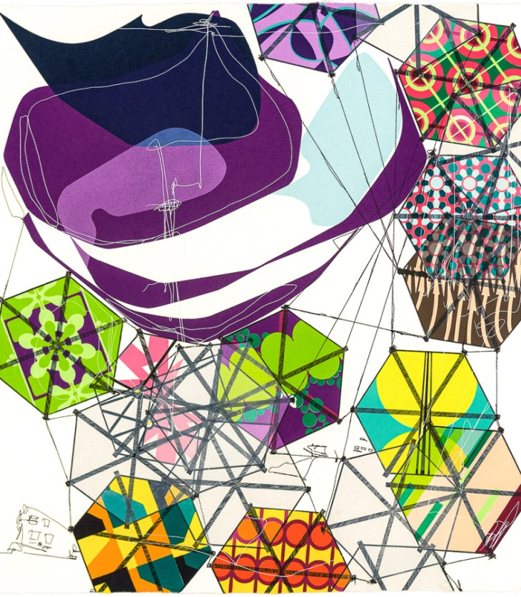 Multi-colored hexagons are scattered across a white background, tethered together with thin wire, a magenta stripped blob invading the center, like a hot air balloon grazing past clouds.