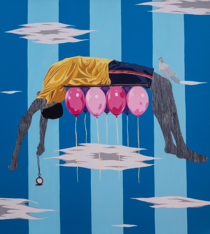 A lifeless body, suspended midframe, is propelled upwards by a group of balloons. A dove sits on its knee and a watch dangles from one of its hands.