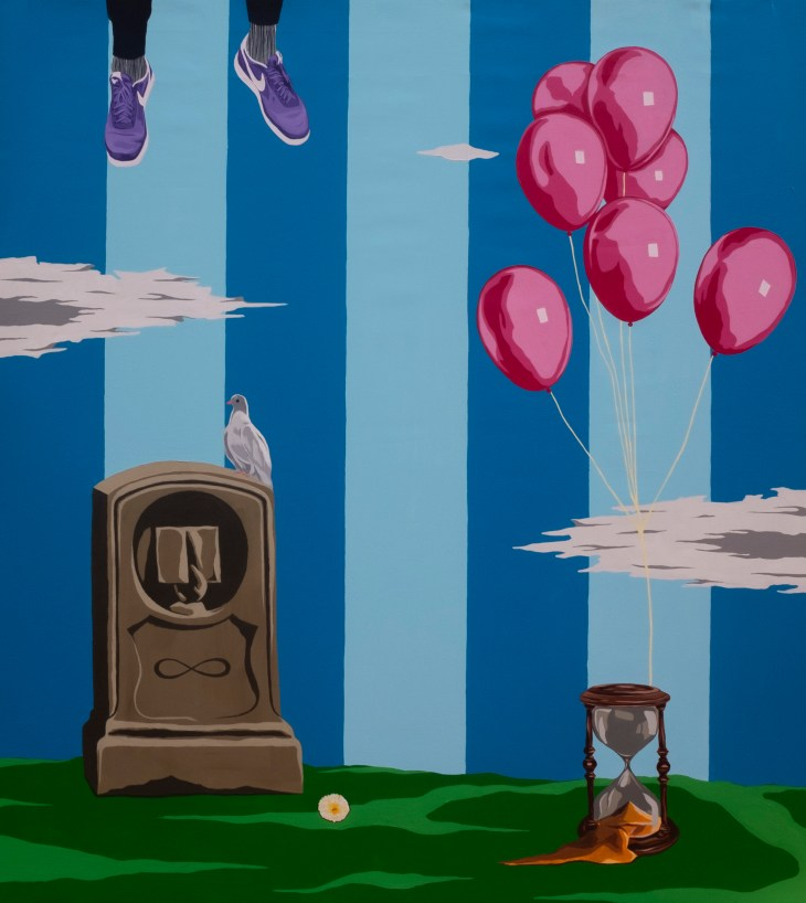 Blue Nikes are about to float out of frame. A grouping of red balloons are held to the ground by a sand timer. A dove sits on a gravestone.