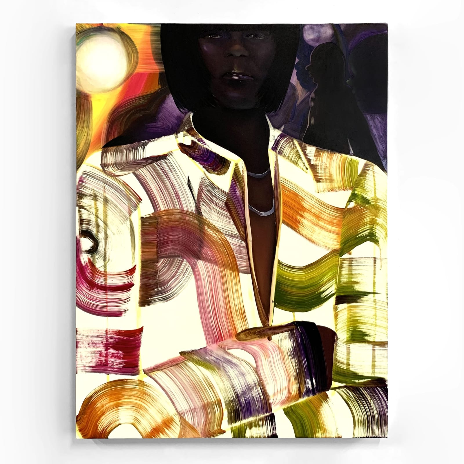 With wide brush strokes, a white coat is adorned with colorful paint, just behind which a Black face with short hair watches expressionless, arms crossed, with figures shuffling past in the background.
