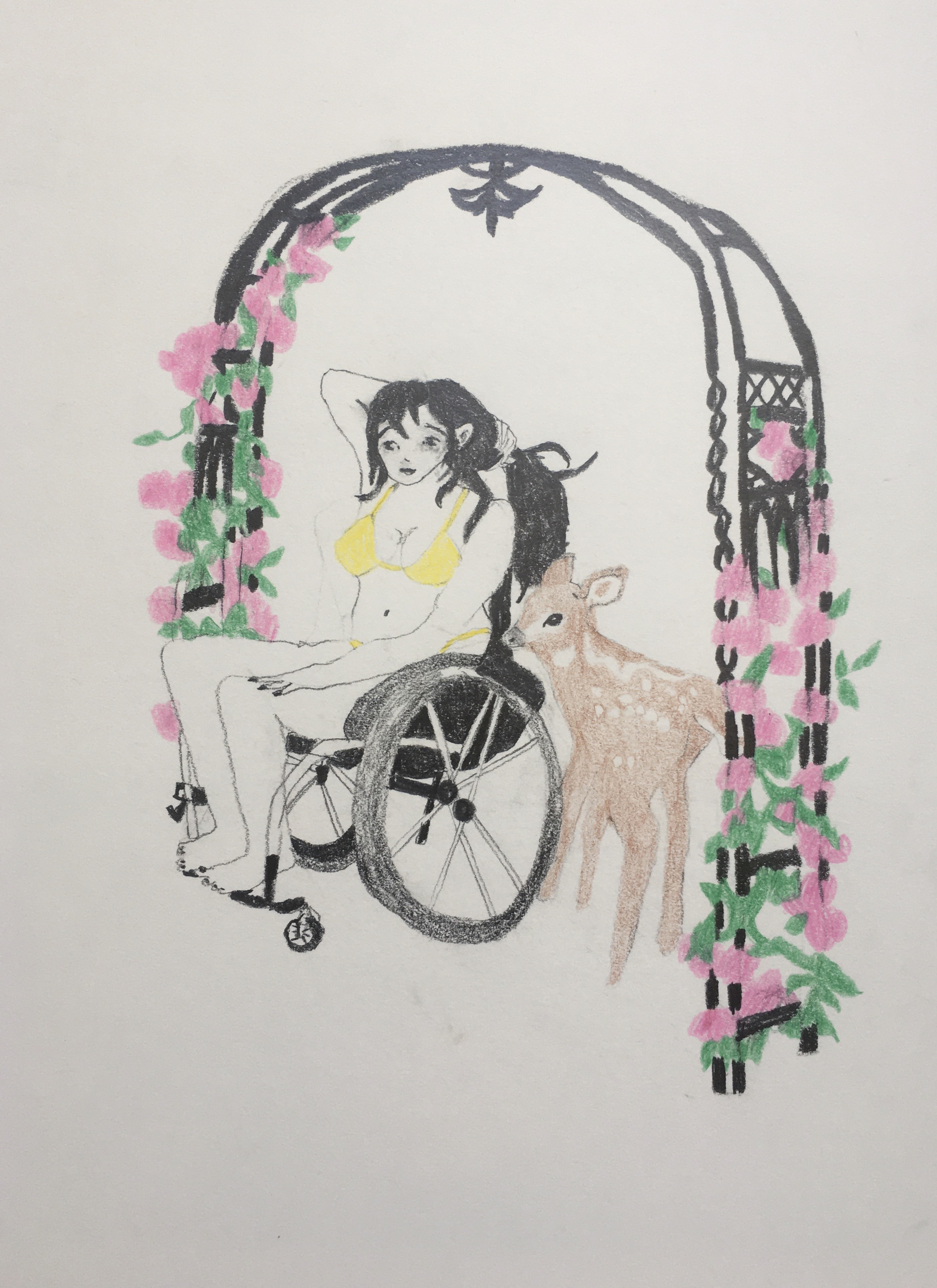 An individual wearing yellow underwear is seated in a wheelchair, holding their long, black hair behind their head, beside a young deer and under a flowered awning.
