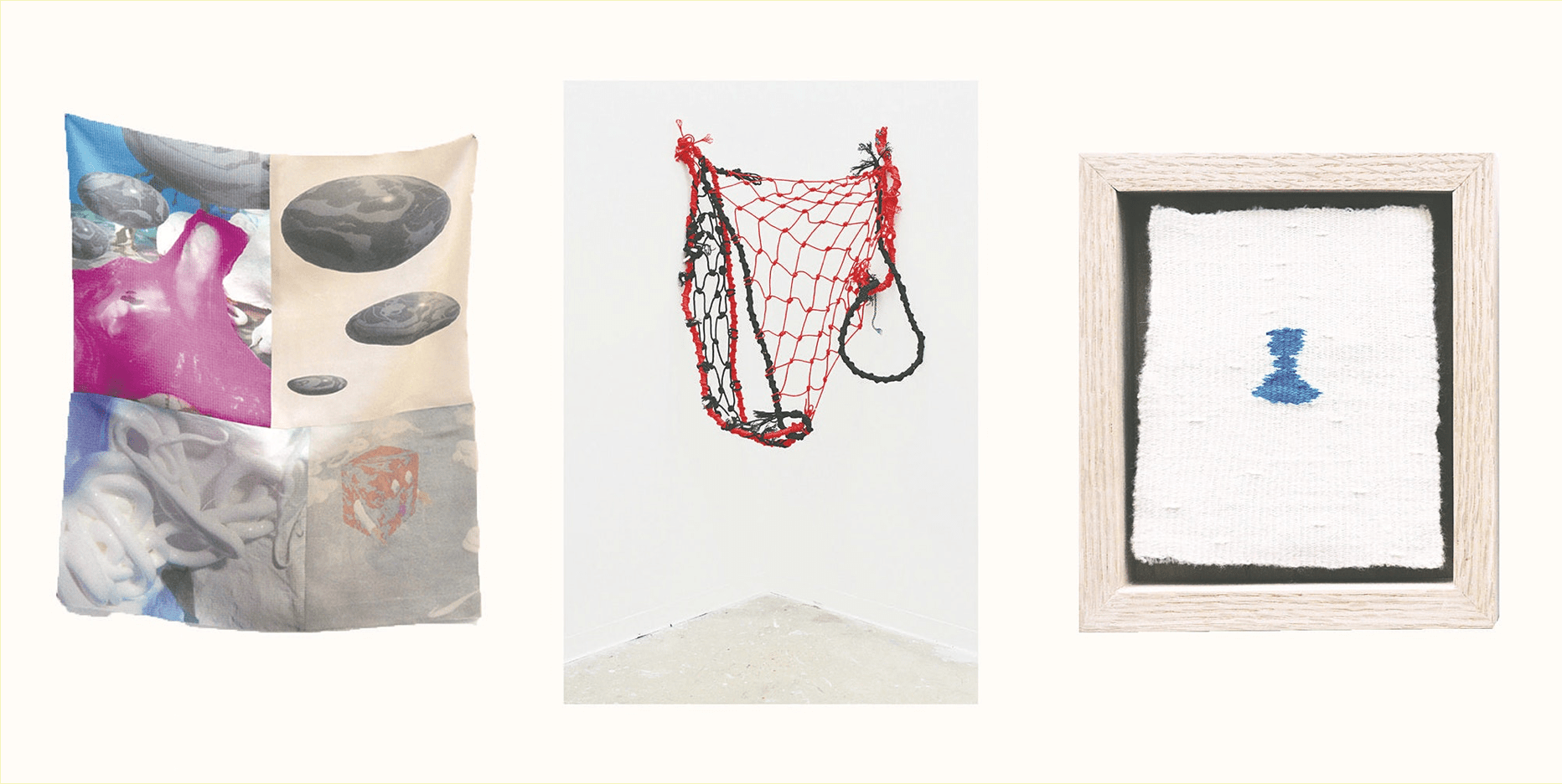 Three images—one tapestry depicting multiple smoothed river rocks, and a liquidy, tentacle like goop; one tangled net, hanging against a white wall; one small, chess-piece-like blue object, knit against a white fabric.