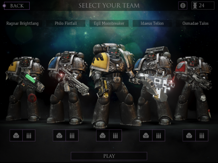 Five-man Deathwatch Space Marine Squadron