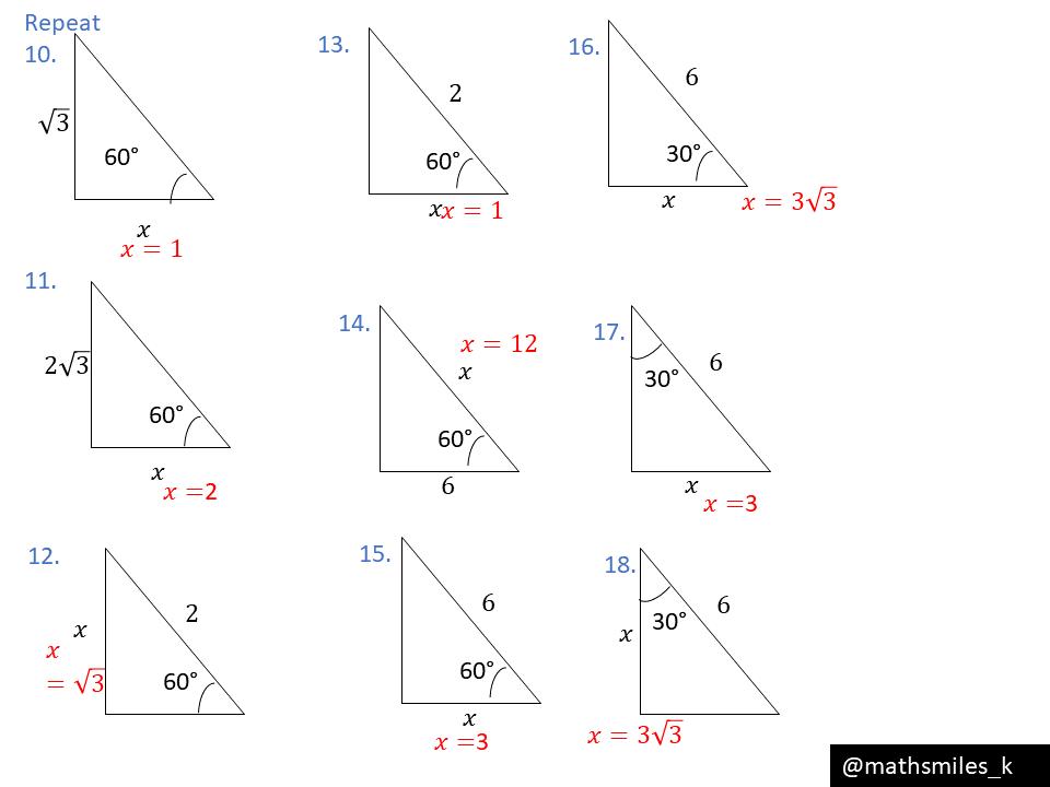 Trigonometry exact values – finding sides