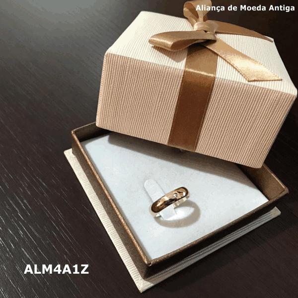 Aliança de Moeda Antiga Abaulada 4MM com Revestimento em Prata com 1 Zircônia – ALM4A1Z