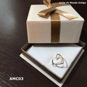 Anel de Moeda Antiga Coração – AMC03