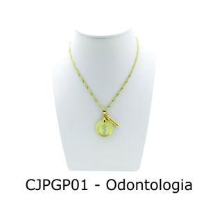 Conjunto Cordão e Pingente de Profissão Odontologia com Resina - CJPGP01