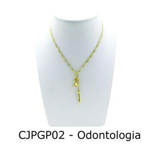 Conjunto Cordão e Pingente de Profissão Odontologia com Resina - CJPGP02