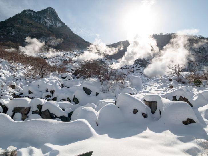 積雪した大涌谷